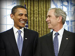 Barack Obama and George Bush Standing Side by Side